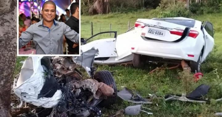 Corolla se parte em dois e funcionário de empresa de biodiesel morre após bater em árvore; fotos