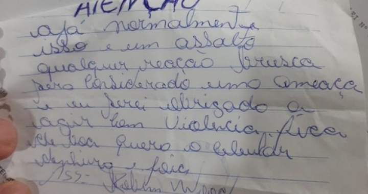 Assaltante entrega bilhete à funcionária anunciando roubo em MT e ameaça ser violento: 'fica de boa'