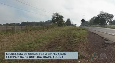 SECRETARIA DE CIDADE FEZ A LIMPEZA DAS LATERAIS DA BR QUE LIGA JUARA A JUÍNA