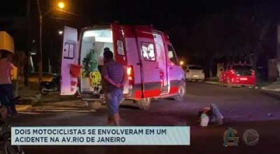DOIS MOTOCICLISTAS SE ENVOLVERAM EM UM ACIDENTE NA AV. RIO DE JANEIRO