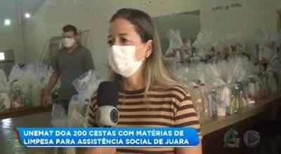 ASSISTENTE SOCIAL AGRADECE A UNEMAT PELAS DOAÇÕES DAS 200 CESTAS DE MATERIAIS DE LIMPEZA